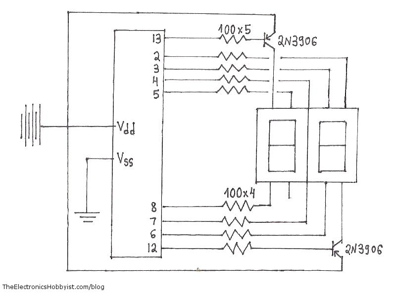 7 Segment Display Pin Diagram http://www.tinkerhobby.com/arduino-2-digit-7-segment-display-counter-circuit/