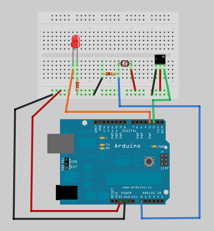 Motion and light sensors with arduino pir sensor