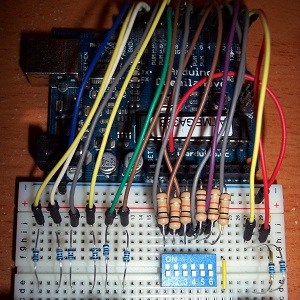 DIP switch and Arduino on breadboard
